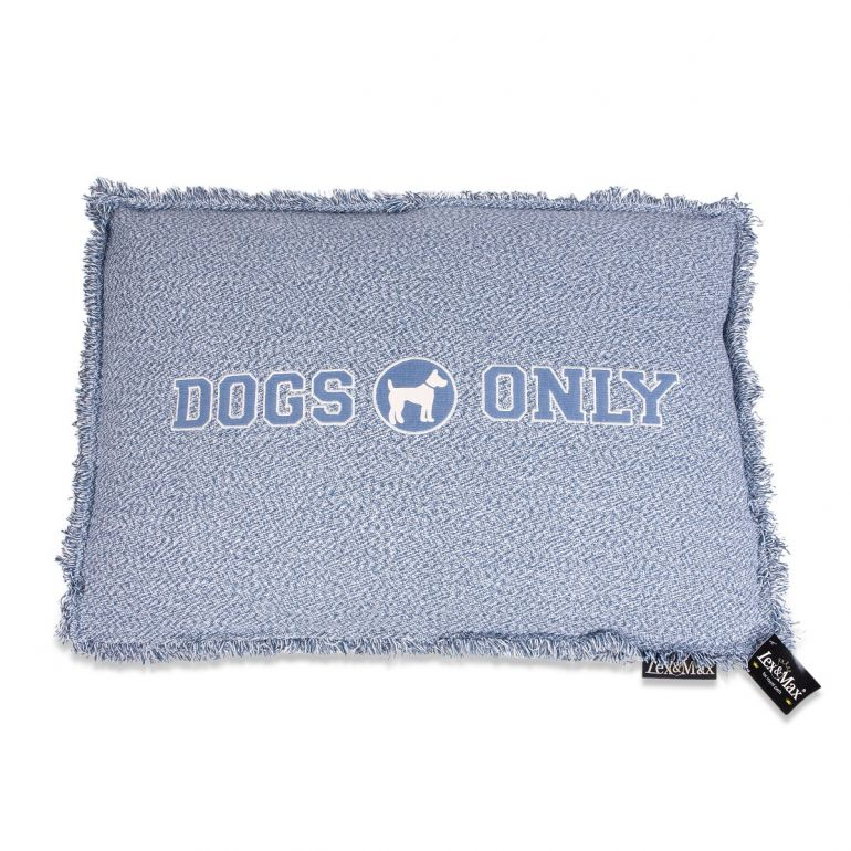 Lex & Max Hondenkussen Dogs Only Faded Blauw - Boxbed - 90 x 65cm