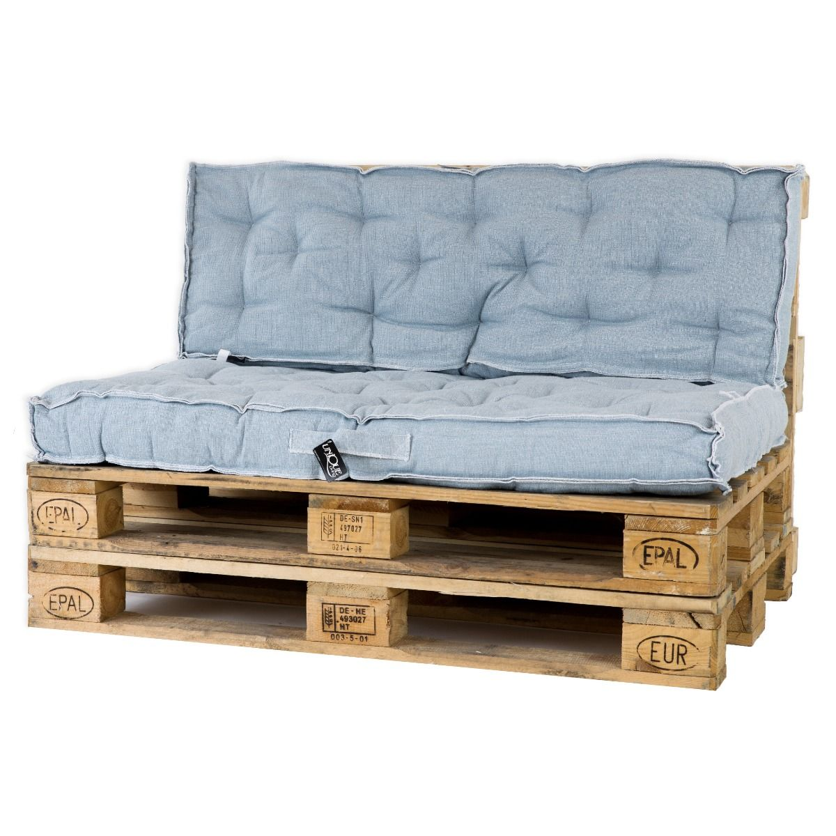 Unique Living Palletkussenset Rib Blauw - 2 delig